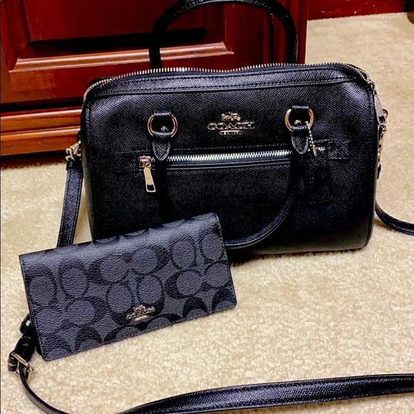 Coach authentic black Rowan bag with wallet! NWT